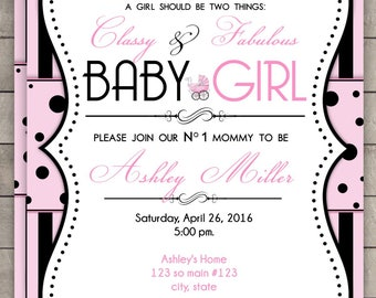 Coco Chanel Baby Shower Invitation - Parisian Inspired Baby Shower Invite - it's a Girl Baby Shower Invite - custom Printable invitation