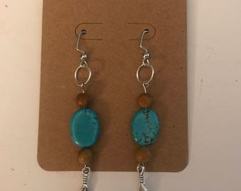 Boho dangle turquoise earrings