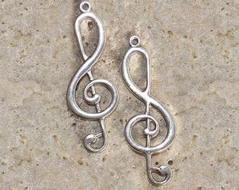 2 large treble clef 60 X 21 mm pendant charms