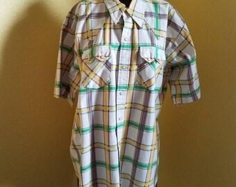 1970's plaid Washington Dee Cee button snap western shirt