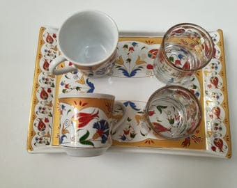 Coffee cup set-Turkish coffee set- Ceramic Espresso cup set- Turkish Coffee Cup,glasss and coffee Saucer Porcelain Hand-Painted
