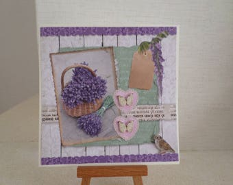 card for any occasion with a basket of lavender, butterflies