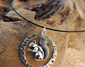 Necklace and pendant Choker the black steel with squirrel and Tibetan silver pendant. forest, animals.