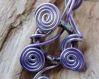 Necklace and pendant, Choker the gray steel with aluminum and Parma violet and Pearl ring sterling silver.