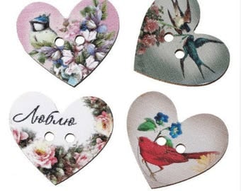 Set of 10 wooden hearts buttons