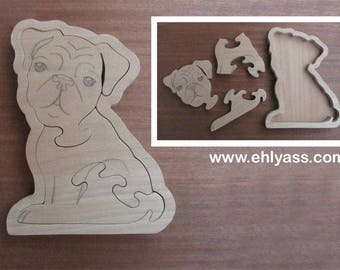 Blank wooden Pug dog on fretwork tray puzzle