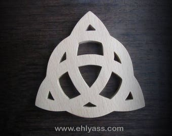 Celtic TRIQUETRA fretwork on beech wood coasters