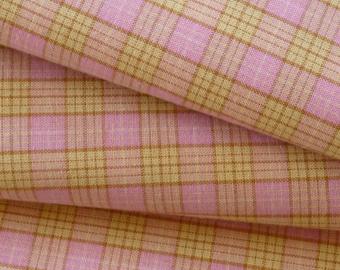 Pink Plaid beige 100% cotton fabric