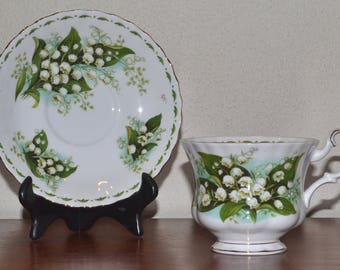 """Royal Albert Vintage Bone China Teacup and Saucer Set """"Flower of the Month - May"""""""
