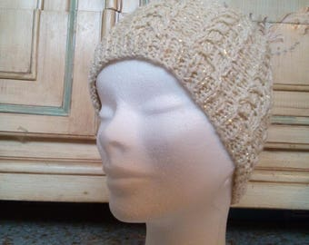 Handmade wool hat woman with gold lurex double braids elegant ivory