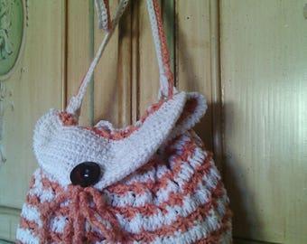 crochet purse shoulder bag pink-and-white linen cotton summer romantic style