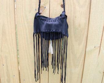 Small Black Leather Purse with Fringe and Horsehair