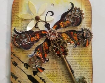 Ephemera Steampunk Altered Art Tag