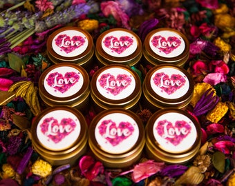 LOVE 2oz Petite Soy Wax Candle Tin   Travel Tin Candle   Wedding Favour   Bomboniere   Engagement