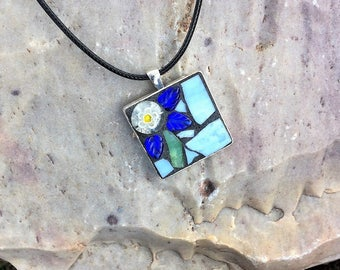 Mosaic Jewelry/Mosaic Pendant/ Stained Glass Pendant/Gift for Her Under 30/Necklace Pendant/Mosaic Gift/Wearable Art