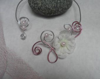 Design for wedding - flower necklace - soft pink, silver and white
