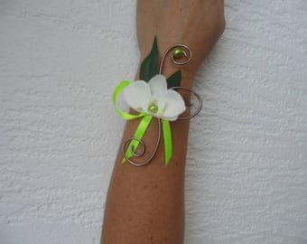 Flowers for bride or witness - lime chocolate and ivory bracelet