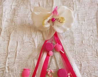Back train married I theme candy color fuchsia and white small buttons, Candy Apple, candy color