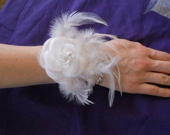 "No. 406) Ribbon white flower ""wedding procession"" Bracelet"