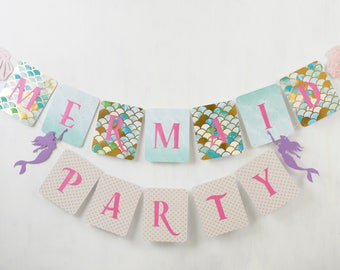 Mermaid Party Banner, Turquoise, Blue, Party Banner