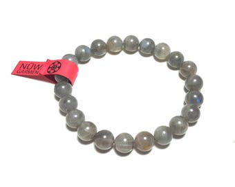 Labradorite Gemstone Bracelet - 8mm - Stretch Cord