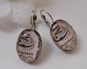 """""""Hello"""" Oval cabochon earrings"""