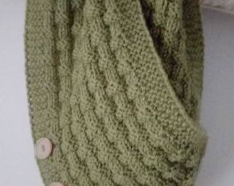 Handknitted scarf cowl neckwarmer with buttons