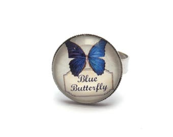 Vintage - a kiss Butterfly Adjustable ring