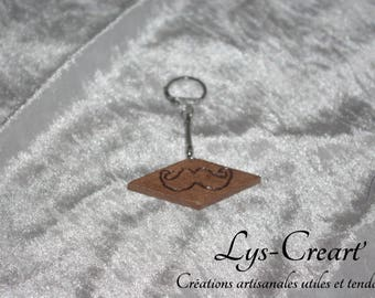 Engraved wooden, mustache key chain