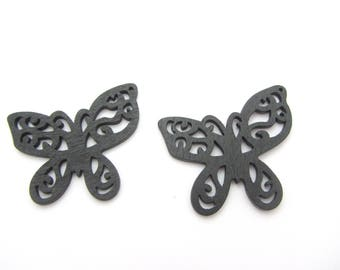 Set of two Butterfly black wooden beads