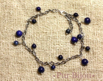 Gemstone - Lapis Lazuli - steel and Sterling Silver 925 bracelet