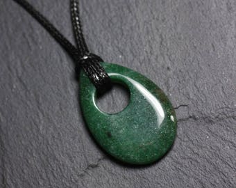 Green Aventurine - stone pendant necklace drop 35mm