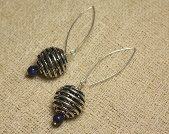 Sterling Silver 925 Rhodium 18mm and Lapis bead earrings