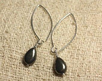 Earrings Silver 925 hooks 40mm - Pyrite drops 12x8mm