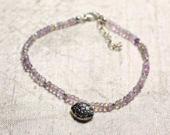 Bracelet 925 sterling silver and stone - Ametrine faceted rondelle 3mm