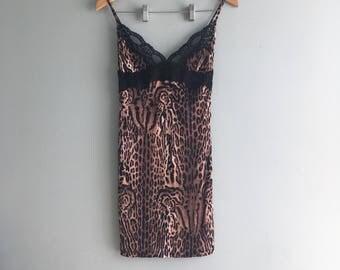 Vintage Leopard Print Stretch Teddy//Black Lace