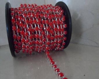 1 meter 4 mm red rhinestone chain trim