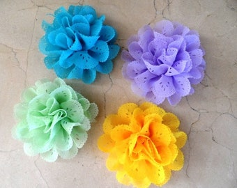 set of 4 flower appliques lace 8cms sewing or craft