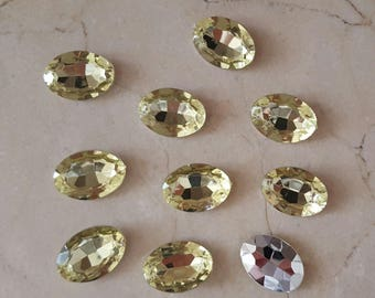 set of 10 large 18 x 13 mm yellow rhinestones