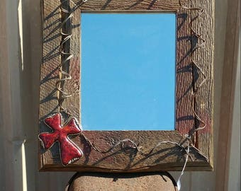 Western antique barbed wire mirror .  For  that Western Flair inside your home