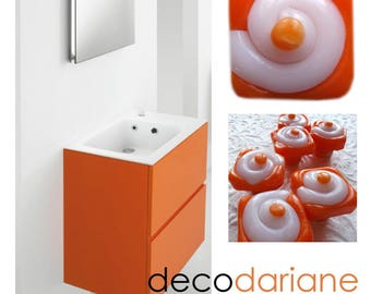 Furniture orange and white buttons, translucent, perfect effect for the bathroom
