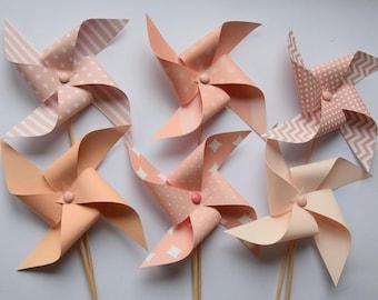 6 windmills peach, salmon - baptism decoration, baby shower, birthday, wedding