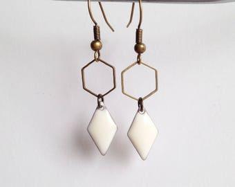 Earrings - Hexagon - white