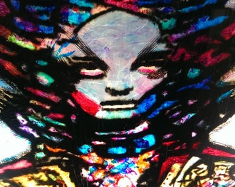 Female Magician by H.R. Giger, painted in stained glass by Van Amq