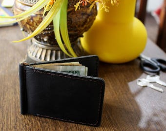 Hand Made Black Cowhide Minimalist Men's Leather Wallet Customized Personalized Father's Day Groomsmen gift
