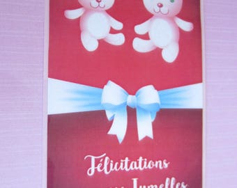 "Card baby shower or birth ""twins"""