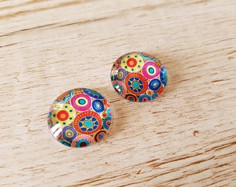 Set of 2 illustrated round cabochon 20 mm