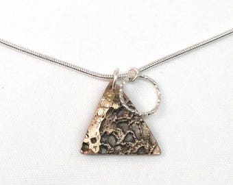 Necklace Silver 925, triangle, silver engraved ring.