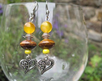 Heart, ceramic and yellow agate earrings