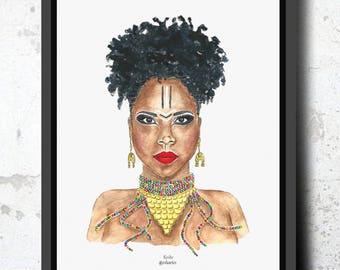 Digitized sheet of original watercolor. Keida, Portrait afro woman. Artist, Blackwoman, portrait, artist, reggae.